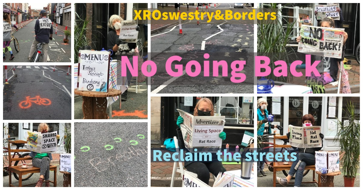 a montage of images of Oswestry & borders group holding up placards with spray painted marks on the high street in Oswestry